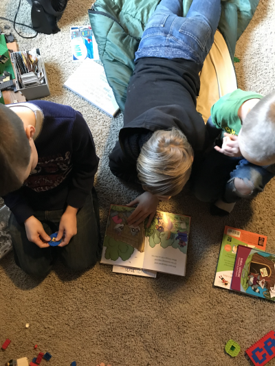Brothers reading to each other