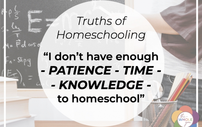 I don't have enough patience-time-knowledge to homeschool